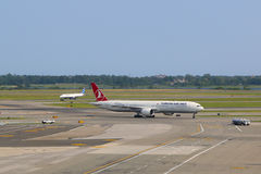 Turkish Airlines Boeing 777 taxing in JFK Airport in NY Royalty Free Stock Image