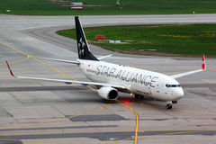 Turkish Airlines Boeing 737-800 TC-JFH wearing Star Alliance paint scheme taxiing at Sheremetyevo international airport. SHEREMETYEVO, MOSCOW REGION, RUSSIA Stock Image