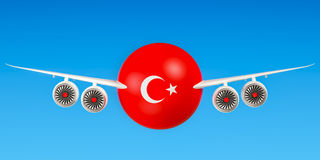 Turkish airlines and flying`s, flights to Turkey concept. 3D ren Stock Images