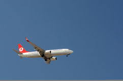 Turkish Airlines - Plane. Turkish Airlines  descending for landing Royalty Free Stock Photography