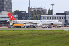 Turkish Airlines plane being refueled Stock Photo