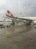 Turkish Airlines plane waiting for boarding in Istanbul, Turkey Stock Images