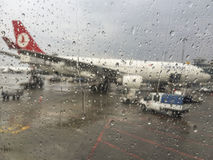 Turkish Airlines plane waiting for boarding in Istanbul, Turkey Stock Photos