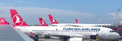 Turkish airlines planes Royalty Free Stock Photo