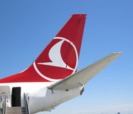 Turkish Airlines svans och logo Arkivfoto