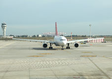 Turkish Airlines taxi to takes off Stock Photos
