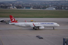 Turkish Airlines. TC-JSP Airbus A321-231 taxiing in Stuttgart Germany Stock Photo