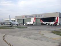 Turkish Airlines Technic hangar. Hangar for Turkish Airlines Technic, the maintenance division, at Istanbul Ataturk Airport Stock Photography