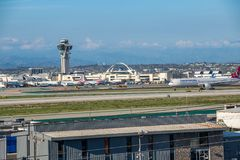 Turkish Airlines voyagent en jet décolle à l'aéroport international de Los Angeles Photographie stock