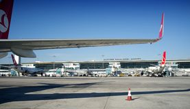 Turkish Airlines Wing Ataturk Airport Turkey Photos stock