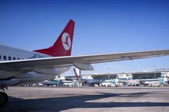 Turkish Airlines Wing Ataturk Airport Turkey Stock Photos
