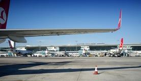 Turkish Airlines Wing Ataturk Airport Turkey Stock Photos