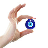 Turkish amulet. Evil eye. Over hands with white backgrounds , 3D Stock Photography