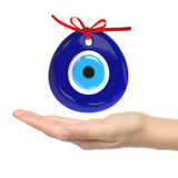 Turkish amulet. Evil eye. Over hands with white backgrounds , 3D. Render , 3D illustration Stock Photos