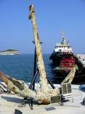Turkish Anchor. Old anchor found at sea bottom in Kusadasi, Turkey Royalty Free Stock Photography