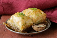 Turkish arabic dessert baklava with honey and nuts Stock Photography