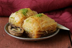 Turkish arabic dessert baklava with honey and nuts Stock Images