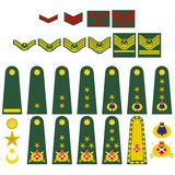 Turkish army insignia. Epaulets, military ranks and insignia. Illustration on white background Stock Image