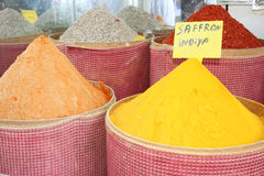 Turkish aromatic spices. Big stall with various Turkish aromatic spices Stock Images