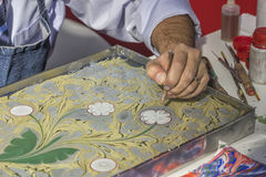 Turkish art of marbling, making Ebru 2 Royalty Free Stock Images