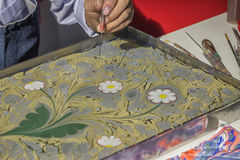 Turkish art of marbling, making Ebru 3 Royalty Free Stock Images