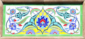 Turkish artistic wall tile. At the Basyazicioglu Mosque on AUGUST 28, 2014 in Ankara. impressive ancient Handmade Turkish Tiles royalty free stock photos