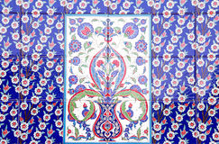 Turkish artistic wall tile at the Fatih Mosque. Izmir. impressive ancient Handmade Turkish Tiles royalty free stock images