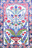 Turkish artistic wall tile. At the Fatih Mosque on July 31, 2014 in Izmir. impressive ancient Handmade Turkish Tiles royalty free stock images