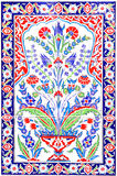 Turkish artistic wall tile. At the Fatih Mosque on July 31, 2014 in Izmir. impressive ancient Handmade Turkish Tiles stock photography