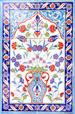 Turkish artistic wall tile. IZMIR, TURKEY - Turkish artistic wall tile at the Fatih Mosque on in Izmir. impressive ancient Handmade Turkish Tiles royalty free stock photography
