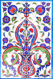 Turkish artistic wall tile. IZMIR, TURKEY - Turkish artistic wall tile at the Fatih Mosque on in Izmir. impressive ancient Handmade Turkish Tiles stock images