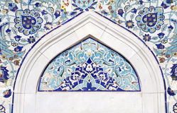 Turkish artistic wall tile at the Konak Mosque. In Izmir. impressive ancient Handmade Turkish Tiles stock photography