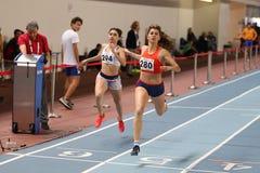 Turkish Athletic Federation Olympic Threshold Indoor Competition. ISTANBUL, TURKEY - JANUARY 07, 2018: Athletes running during Turkish Athletic Federation Stock Photo