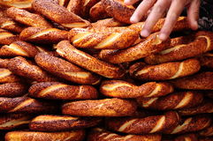 Turkish bagel. Delicious turkish bagel with sesame Royalty Free Stock Images