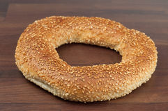 Turkish bagel. Turkish bagel on brown background royalty free stock photography