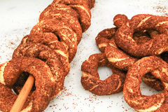 Turkish bagel bread called Simit in Istanbul Royalty Free Stock Images
