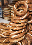 Turkish bagel bread on the streets of Istanbul Stock Images