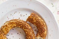 Turkish Bagel. Close-up bitten Turkish bagel Royalty Free Stock Photo