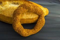 Turkish bagel, sesame bagel, crispy bagel, turkey bagels, bagels in various concepts, tea and pretzels pictures Stock Images