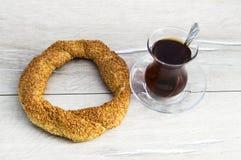 Turkish bagel, sesame bagel, crispy bagel, turkey bagels, bagels in various concepts, tea and pretzels pictures Stock Photo