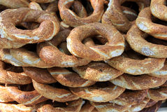 Turkish bagel: Simit. Turkish bagel. It's Türkish mean is simit. It's a turkish fast food Royalty Free Stock Photography