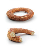 Turkish Bagel - simit. Above all, the bottom white background standing in split form the Turkish bagel Stock Photography