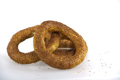 Turkish bagel, simit on breakfast plate Royalty Free Stock Image