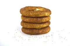 Turkish bagel, simit on breakfast plate Stock Photo
