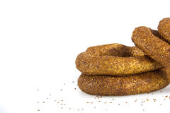 Turkish bagel, simit on breakfast plate Stock Images