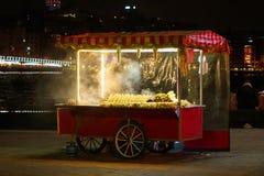 Turkish Bagel Simit sale on food cart stock image