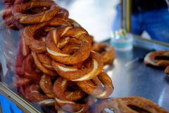 Turkish bagel simit. Turkish bagel bread called Simit in Istanbul. Turkey Royalty Free Stock Images