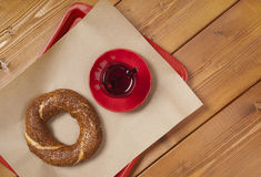 Turkish bagel and tea Royalty Free Stock Photography
