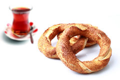 Turkish bagel and tea Royalty Free Stock Photos