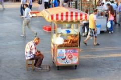 Turkish Bagel Vendor Stock Photo
